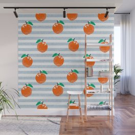 Orange fruit pattern with stripes fun pattern for boys or girls room Wall Mural