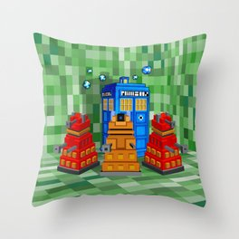 8bit Dalek with tardis doctor who iPhone 4 4s 5 5c 6, pillow case, mugs and tshirt Throw Pillow