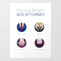 ace attorney Art Prints featuring Phoenix Wright: Ace Attorney by PlalligatorDraws