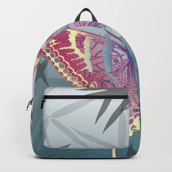 Unique Butterfly Bamboo leaves Pattern Backpack