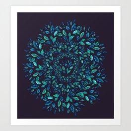 Blue Leaves Mandala Art Print