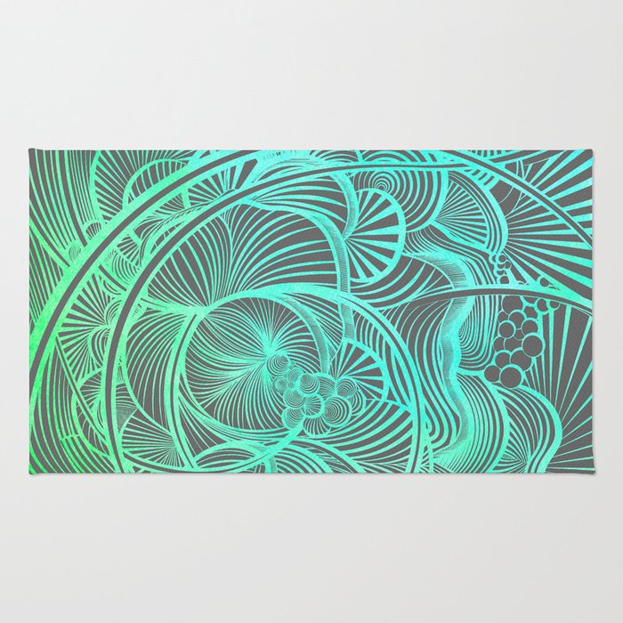The Ebb and Flow - Teal Rug