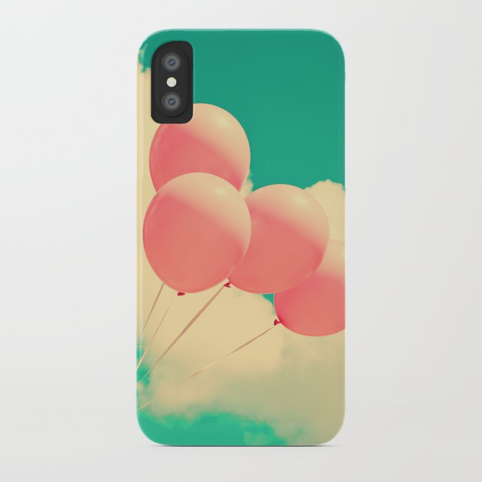 Happy Pink Balloons on retro blue sky  iPhone Case