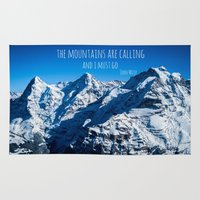 the mountains are calling Area & Throw Rugs featuring The Mountains are Calling by Michelle McConnell