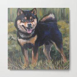 SHIBA INU dog art portrait from an original painting by L.A.Shepard Metal Print