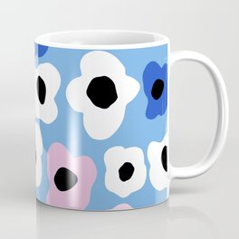Pink Pop and Blue Contemporary Floral Pattern Coffee Mug