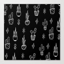 Boho Cactus, Black and White Succulent Art Canvas Print