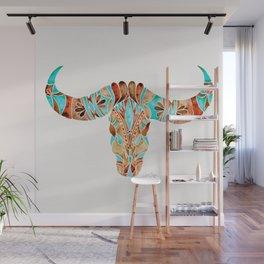 Water Buffalo Skull – Blue & Brown Wall Mural