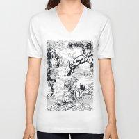 comics V-neck T-shirts featuring Comics by Burg