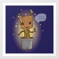 groot Art Prints featuring Groot by Lalu - Laura Vargas