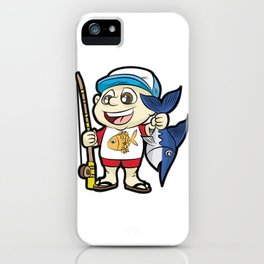 HAPPY FISHING KID with Rod and Swordfish Gift iPhone Case