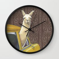 farm Wall Clocks featuring Taxi Llama by Jason Ratliff