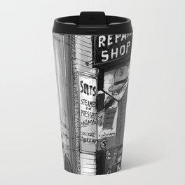 Economy repair shop. Antique drawing Travel Mug