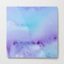 Philip Bowman Abstract Watercolor Art Blue And Purple Modern Painting Metal Print