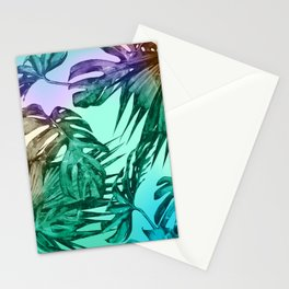 Simply Palm Leaves in Hologram Island Green Stationery Cards