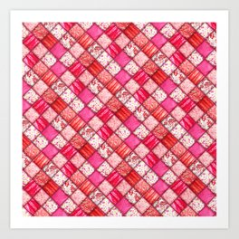 Faux Patchwork Quilting - Pink and Red Art Print