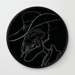 cowboy skull black Wall Clock