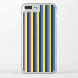 zakiaz blue yellow orange stripe Clear iPhone Case