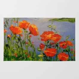 Poppies near the river Rug