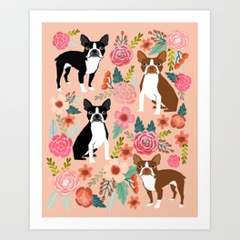 Boston Terrier cute floral pattern spring summer happy pet portrait dog person gift must haves dogs Art Print