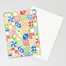 Abstract Squares Primary Stationery Cards