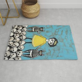 Day of the Dead Cats - Yellow Rug