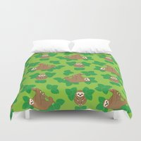 stanley kubrick Duvet Covers featuring Stanley Sloth by Joanne Paynter