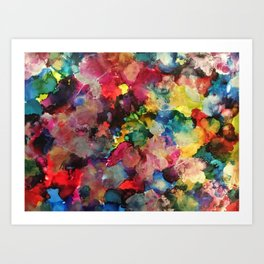 Color Burst - abstract iridescent painting in yellow, red, blue, pink and green Art Print