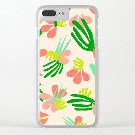 Henri's Garden in peach // tropical flora pattern Clear iPhone Case
