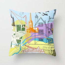 Norwich- City of Stories Throw Pillow