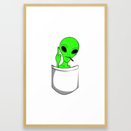 Alien in a pocket smoking weed / blunt Framed Art Print