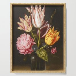Still Life with Bouquet of Tulips, Rose, Clover in Glass Bottle by Ambrosius Bosschaert Serving Tray