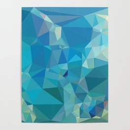Geometric Blues - Abstract Art by Fluid Nature Poster
