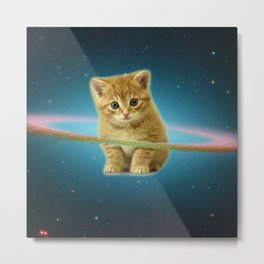 Cat lost in space Metal Print