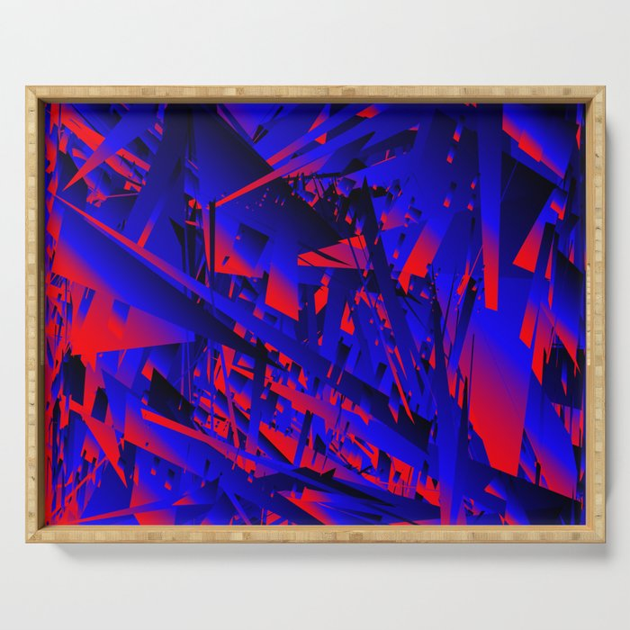 Explosion of geometric shapes. Abstraction on a theme of chaos in the universe. Serving Tray