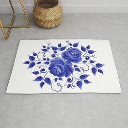 Blue roses gzhel Rug