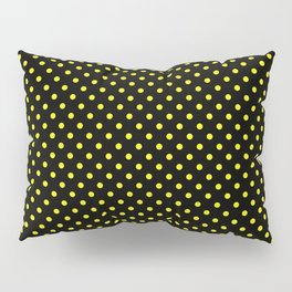 Polka dots Yellow dots over black Pillow Sham
