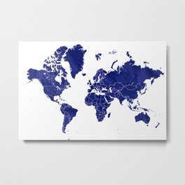 Navy blue world map with outlined countries Metal Print