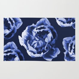 Pastel Blue Flowers On A Dark Blue Background #decor #society6 #buyart Rug
