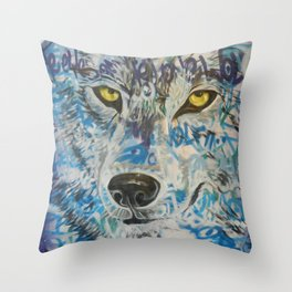 Eyes of The Lone Wolf Throw Pillow