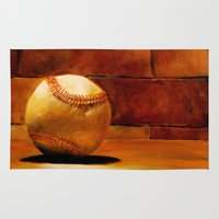 baseball Area & Throw Rugs featuring Baseball by Michelle Sauer