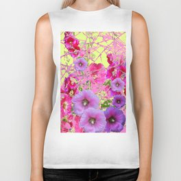 CONTEMPORARY PINK & LILAC HOLLYHOCKS ART Biker Tank