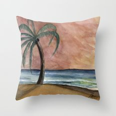 The Waves At Sunset Throw Pillow