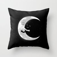 hug Throw Pillows featuring Moon Hug by carbine