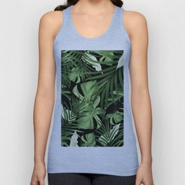 Tropical Jungle Night Leaves Pattern #5 #tropical #decor #art #society6 Unisex Tank Top