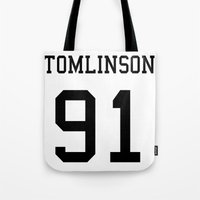 louis tomlinson Tote Bags featuring TOMLINSON by kikabarros