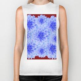 BLUE WHITE DAHLIA FLOWERS IN CHOCOLATE BROWN Biker Tank