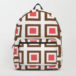 Chocolate Brown + Coral: Pattern No. 13B Backpack