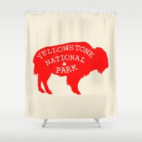 the national Shower Curtains featuring Yellowstone National Park  by Terry Fan