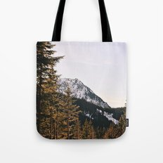 Snow Mountain in the Trees Tote Bag